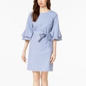 Nine West Bell-Sleeve Striped Shift Dres BlueWhite